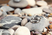 Wedding rings on rocks close-up — Foto de Stock