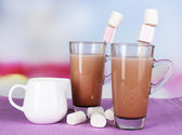 Hot chocolate with marshmallows, on light background — Stock Photo