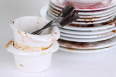 Dirty dishes close up — ストック写真