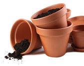 Clay flower pots and soil, isolated on white  — 图库照片