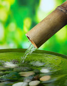 Spa parlak arka plan bambu çeşme ile natürmort — Stok fotoğraf
