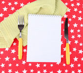 Blank recipe book on bright background — Stock Photo