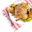 Composition with Whole roasted chicken with vegetables, color napkin, on plate, isolated on white — Stock Photo #43584859