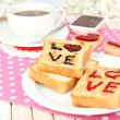 Delicious toast with jam and cup of tea on table close-up — Stock Photo #43584881