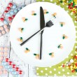Medication schedule and meals. Conceptual photo. On color napkin, on wooden background — Stock Photo #43587107
