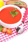 Zuppa di pomodoro saporito e verdure, isolate su bianco — Foto Stock