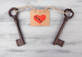 Keys to heart, Conceptual photo. On color wooden background — Stock Photo