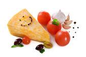 Tasty Italian cheese, isolated on white — Stock Photo