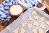 Making cookies on table close up — Stock Photo
