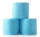 Rolos de papel higiênico cor isolados no branco — Fotografia Stock