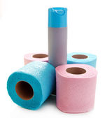 Colorful toilet paper rolls and air fresher, isolated on white — Stock Photo