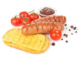 Grilled sausages with cheese toasts isolated on white — Stock Photo