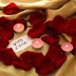 Beautiful red rose petals with candles and greeting card, close up — Stock Photo #43598483