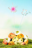 Metal decoration for flowers and bouquet on natural background — Stock Photo