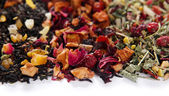 Different kinds of dry tea close up — Stock Photo