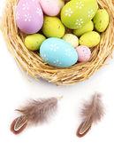 Huevos de pascua en el nido y plumas decorativas, aisladas en blanco — Foto de Stock