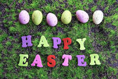 Easter eggs in nest on green grass background — Stok fotoğraf