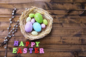 Easter eggs in nest, pussy-willow and sign on color wooden background — Stockfoto