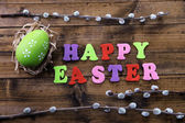 Easter egg in nest, pussy-willow and sign on color wooden background — Stock Photo