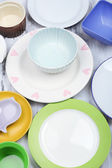 Different tableware on wooden background — Stock Photo