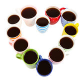 Molte tazze di caffè isolato su bianco — Foto Stock