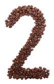 白で隔離されるコーヒー豆から数 — ストック写真