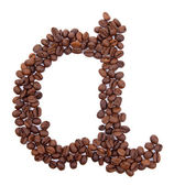 Alphabet from coffee beans isolated on white — Stock Photo
