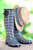 Pair of colorful gumboots and hat on bright background — Stock Photo