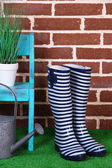 Pair of colorful gumboots, hat, chair and watering can on grass on color wall background — ストック写真