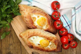 Ajarian khachapuri close up — Stock Photo