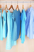 женская одежда на вешалках в шкафу — Стоковое фото