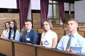 Audience listening to presentation at conference — Stock Photo