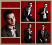 Snapshot of model. Handsome man on red background — Stock Photo