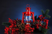 Red kerosene lamp on dark color background — Foto Stock
