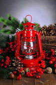 Red kerosene lamp on dark background — Stock Photo