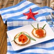 Pancakes with red caviar, salmon and mayo, green onion, on plate, on color napkin, on wooden table, on bright background — Stock Photo