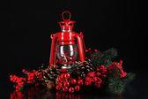 Siyah zemin üzerine kırmızı gaz lambası — Stok fotoğraf