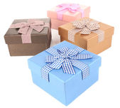 Gift boxes isolated on white — Stok fotoğraf