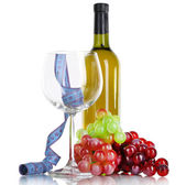 Wine and measuring tape isolated on white — Stock Photo