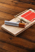 Mousetrap with cigarette, isolated on white — Stockfoto