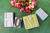 Composition with decorative letters on wooden background — Stock Photo