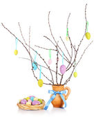 Easter composition with eggs on branches isolated on white — Stockfoto