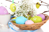 Easter composition with eggs branches close up — Stock Photo