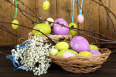 Easter composition with eggs branches on wooden background — 图库照片