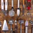 Metal kitchen utensils on table close-up — Stock Photo #43864351