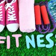 Fitness and healthy life. Conceptual photo. Gumshoes, towel, dumbbells and water bottle on green grass background — Stock Photo #43869917