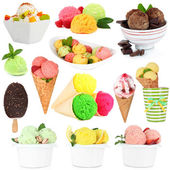 Collage of different sorts ice-cream isolated on white — Stock Photo