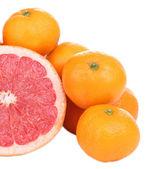 Ripe sweet tangerines and grapefruit, isolated on white — Stock Photo