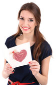 Attractive woman with postcard, isolated on white — Foto Stock