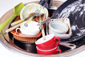 Kitchen utensils need wash close up — Stock Photo